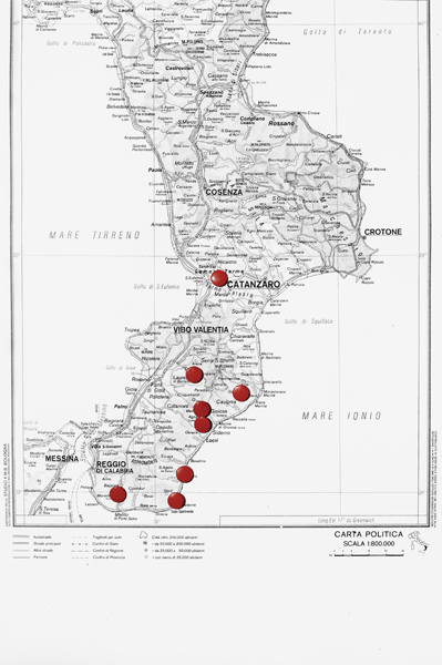 A map of Calabria with the places where the eight were kidnapped.