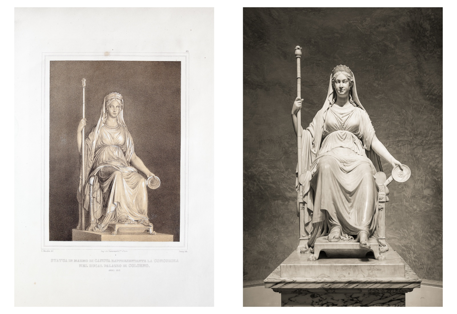 Statua in marmo di Canova, rappresentante la concordia, nel Palazzo di Colorno.