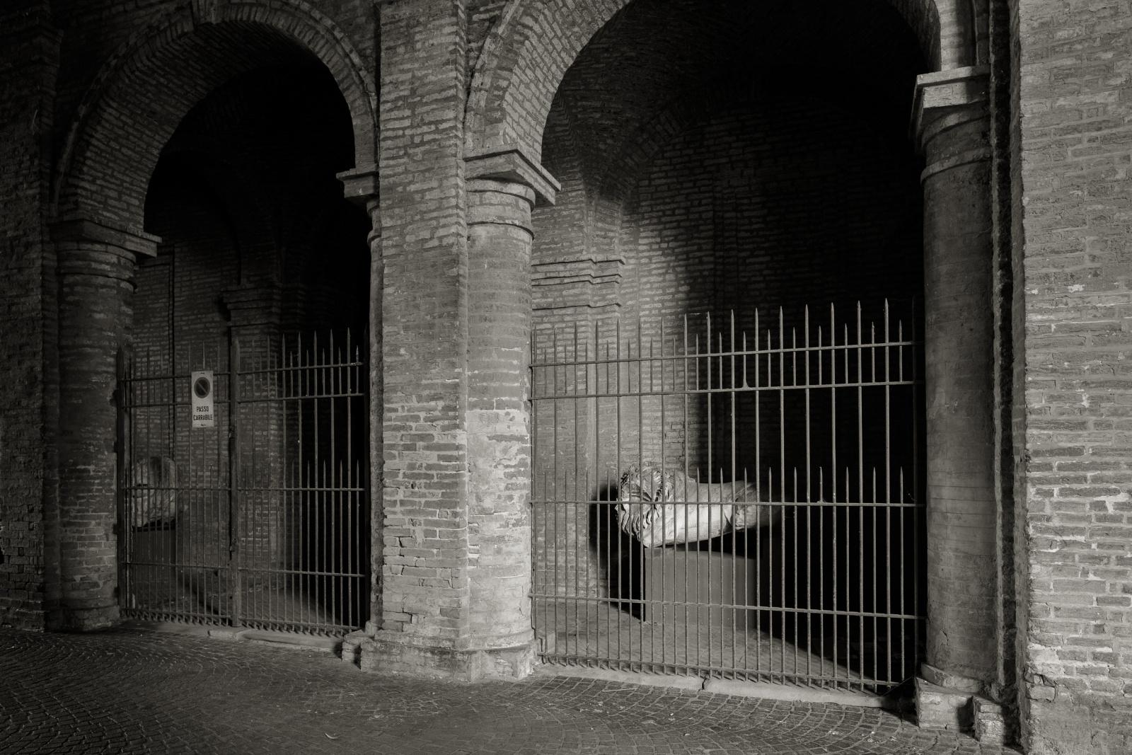 Leone in Pietra di Verona, da monumento sepolcrale rinvenuto nei pressi dell'attuale Via M.D'Azeglio. 100 A.C.